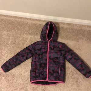 Girls Pink and Black Hooded Puffer Jacket